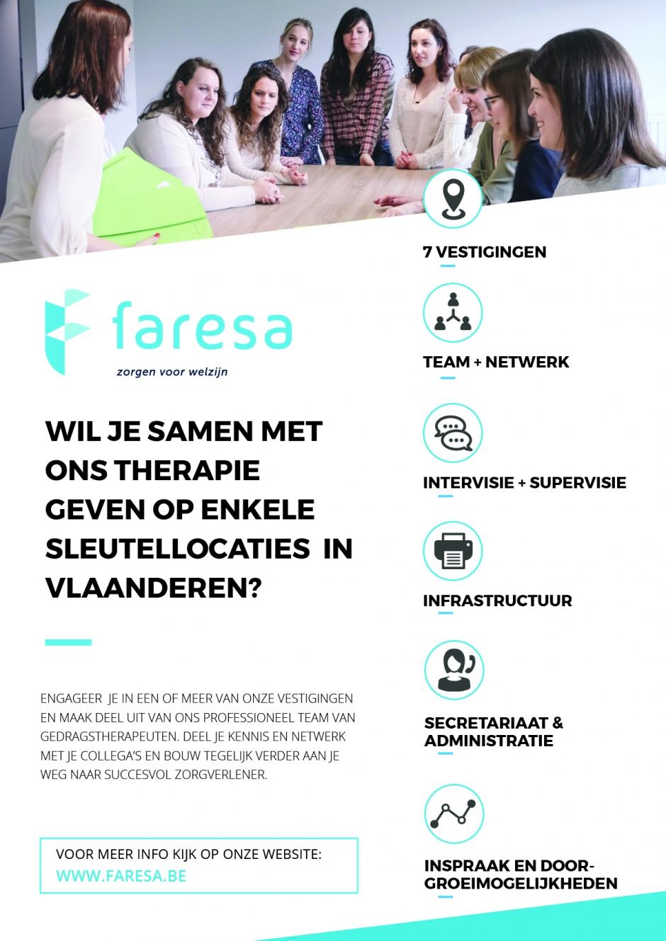 Een informatieve foto over werken bij Faresa dat de vele voordelen aanhaalt: zowel op persoonlijk als op professioneel vlak.
